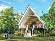 The Beach Bungalows are set amongst the lush island vegetation just a few steps from the beach.